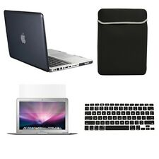 """4 in1 Crystal BLACK Case for Macbook PRO 13"""" + Keyboard Cover + LCD Screen+ Bag"""