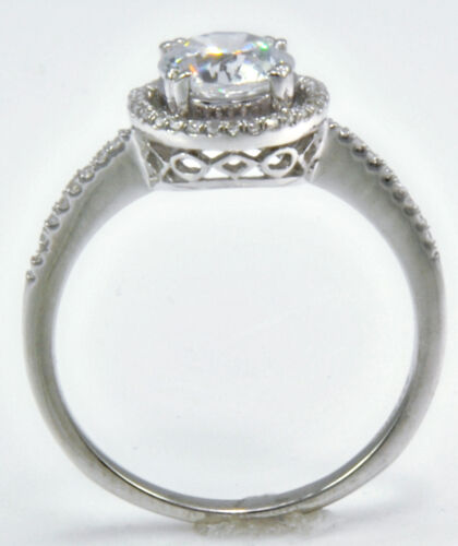 Halo Ring Micro Set Band Top Russian Quality CZ Extra Brilliant  Sz 6 1.5  ct