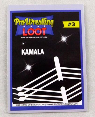 Kamala #3 Signed Pro Wrestling Loot Wrestling Trading Card Wrestler WWE WCW