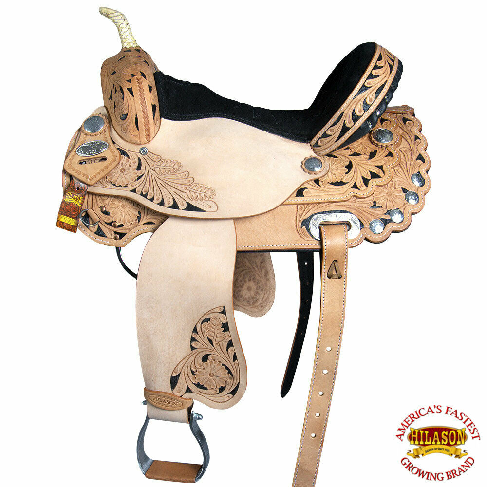 14 15 16 17 in Western cavallo Treeless Saddle American Leather Barrel UV1BZ
