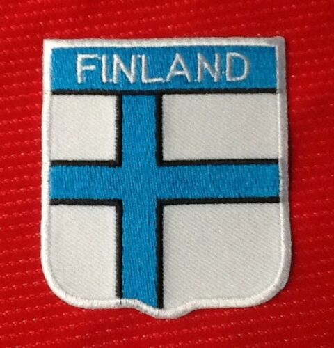 FINLAND FINNISH FINN NATIONAL FLAG BADGE IRON SEW ON PATCH CREST SHIELD