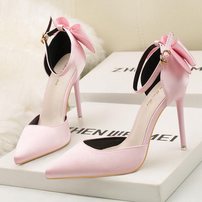 Zapatos de salón sandalias mujer 10 cm elegantes 9638 tacón aguja rosadodo como piel 9638 elegantes 24df27