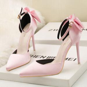 Pumps-Sandalen-10-CM-Elegant-Stilett-Elegant-Rosa-Leder-Kunststoff-9638