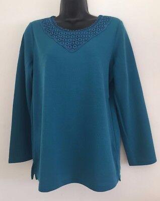 Ex Bon Marche Turquoise Teal High Collar Neck Fine knit Jumper Size S//M//L//XL