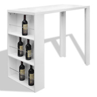 Breakfast Bar Table Kitchen Dining Modern Gloss Small Space Party Storage Shelf