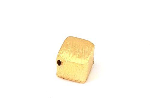 vergoldet 925 Silber Zwischenperlen gebürstet 1St Würfel D- 6mm SB1044