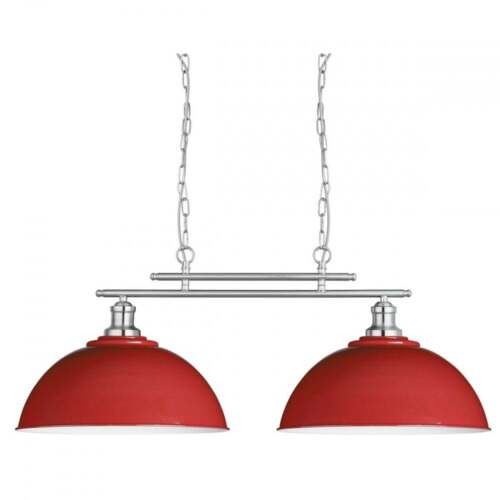 SEARCHLIGHT FUSION 2 LIGHT BAR CEILING PENDANT IN SATIN SILVER AND RED 0932-2RE