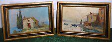 Pair of Signed Miniature Antique Oil Landscape Seascape Paintings France?