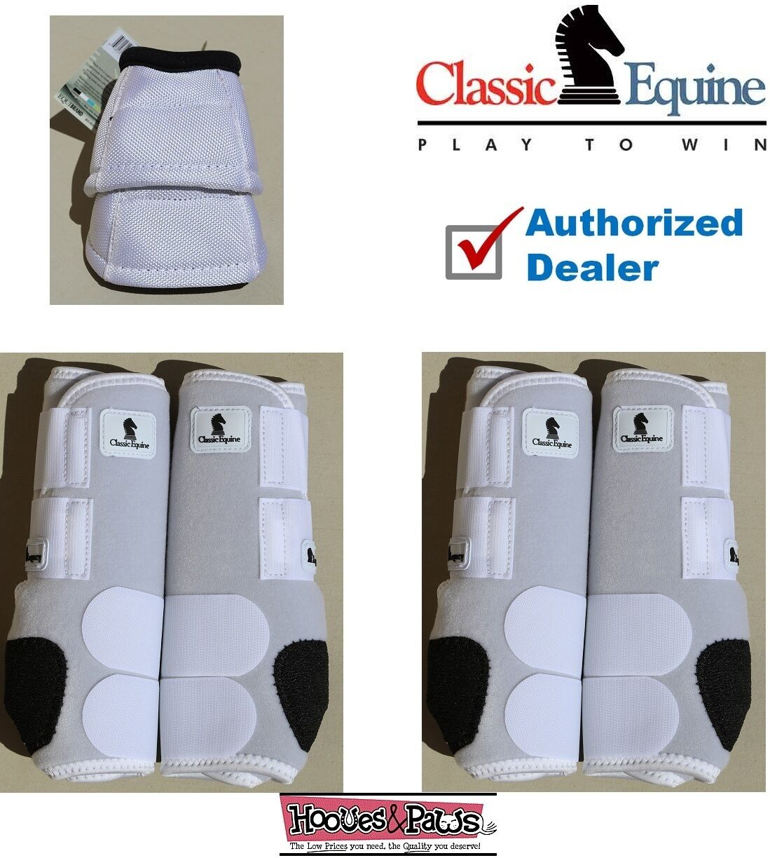 SMALL White CLASSIC EQUINE Front Rear Legacy Horse Sports Leg No Turn Bell Boots