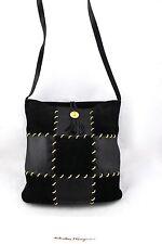 797137024c  900 SALVATORE FERRAGAMO Black Suede Leather Fringe Patchwork Tote Shoulder  Bag