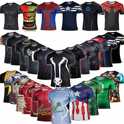 Marvel DC Comic Superhero Mens Compression Slim Short Sleeve T-shirt Jersey Tops