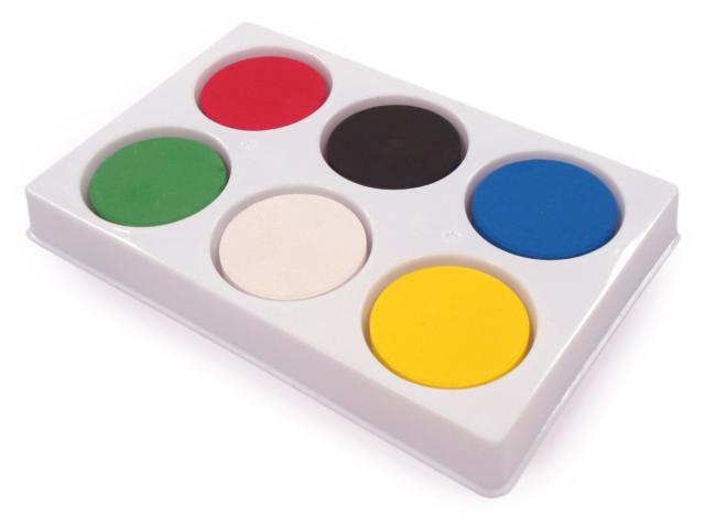 6 Watercolour Blocks & Plastic Palette Childrens School Craft Paint ...