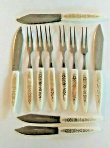 Vintage-034-Little-Fork-034-Stainless-Steel-6-Cocktail-Forks-5-Knives-Mid-Century