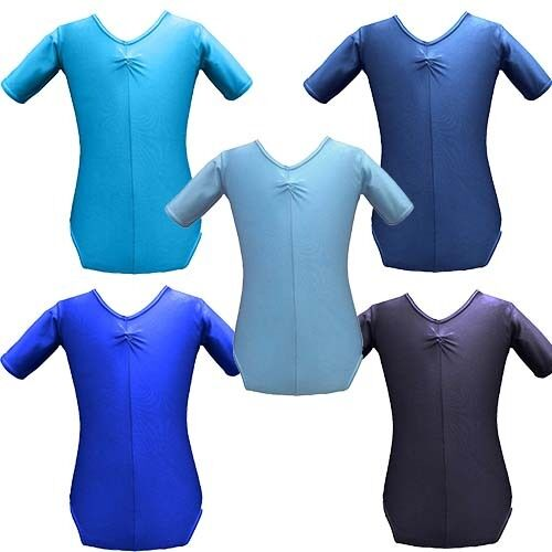GIRLS Short Sleeved Nylon Gymnastics Tap Dance AGE 3-5 Turquoise SHINY Leotard