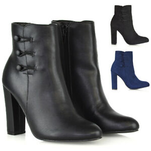 Womens-High-Heel-Ankle-Boots-Ladies-Zip-Button-Smart-Shoes-Booties-Size-3-8