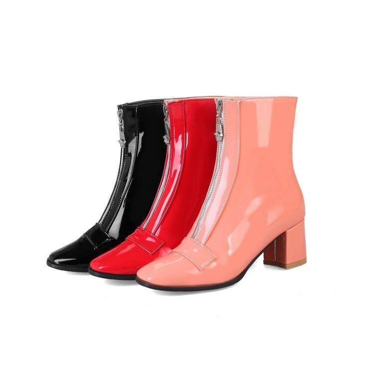 Ladies Shoes Synthetic Leather Med Block Heel Pumps Zip Ankle Boots US Size b250