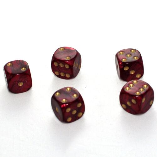 25 Stück 16mm Perlmutt Rot Knobel Würfel Augen Würfel Spielwürfel von Frobis