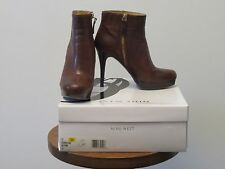 NINE WEST ESMIRALDAR LEATHER AUTUMN LE BROWN BOOTIES ANKLE BOOTS  SIZE 6 W BOX