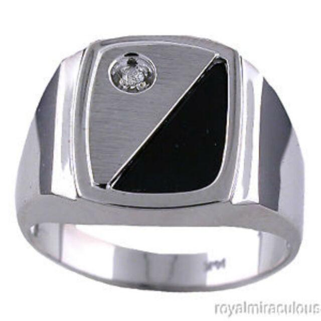 Mens Diamond Ring Onyx 14K Yellow or White Gold Band