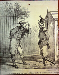 CHAM-Lithographie-Le-Charivari-Caricature-XIXe-Etranger-et-fusil-Chassepot