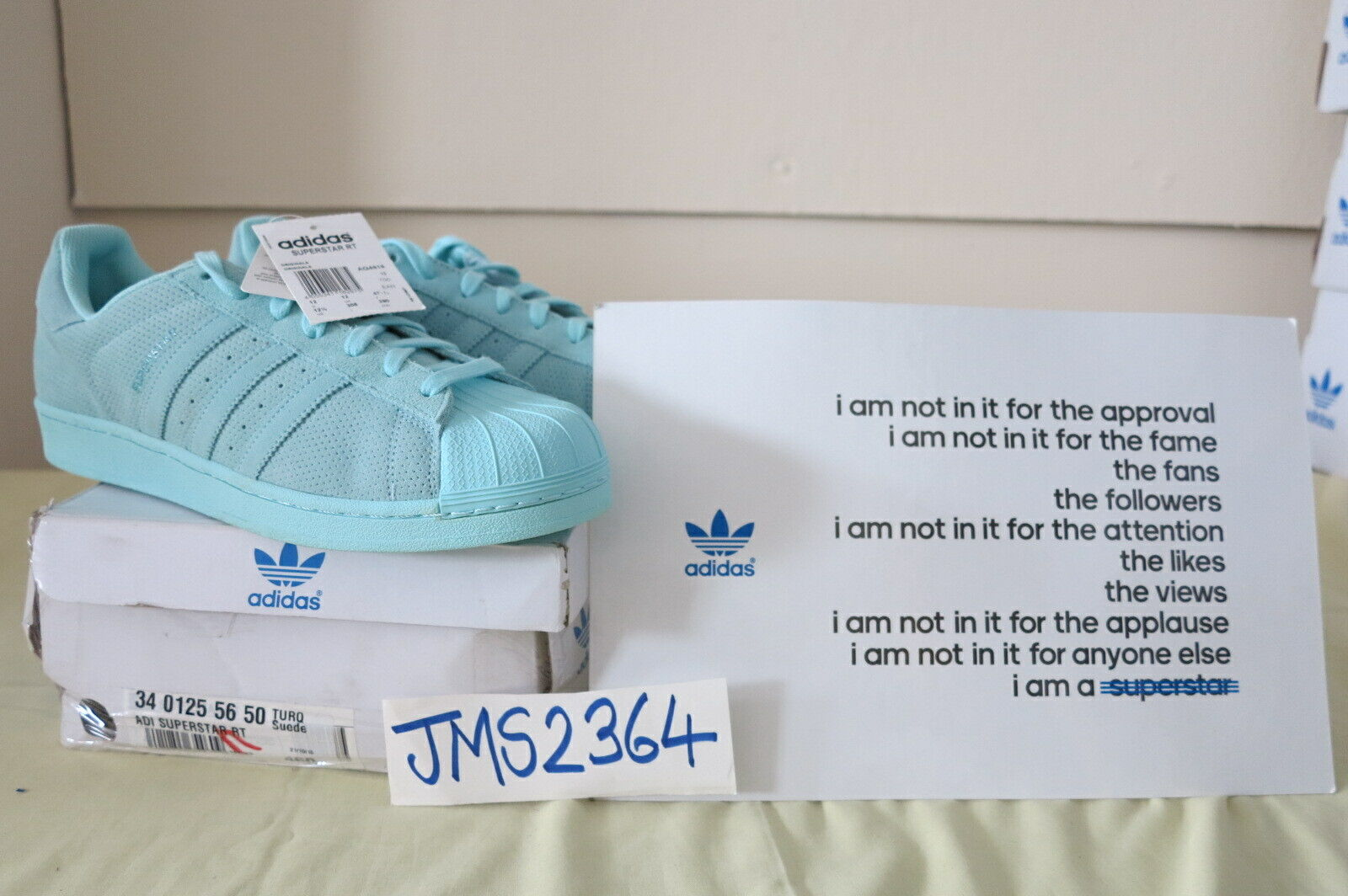 ADIDAS ORIGINALS SUPERSTAR SUPERFarbe RT TURQ Grün Blau SUEDE UK12 US12.5 RARE