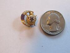 PMC Demolay Masonic 10K Gold & Seed Pearls Pin 1950s 2.86 Grams