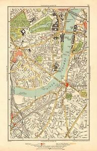 Pimlico London Map.1933 London Map Westminster Pimlico Lambeth Kennington The Mall