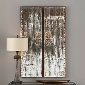 Pair Giles Aged Restoration Barn Door Style Xxl 60 Wall Art Decor Panels Ebay