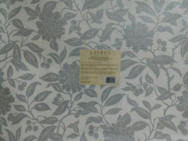 Cotton Placemats Ralph Lauren Pineview Silver set of 4 -White and Silver colors