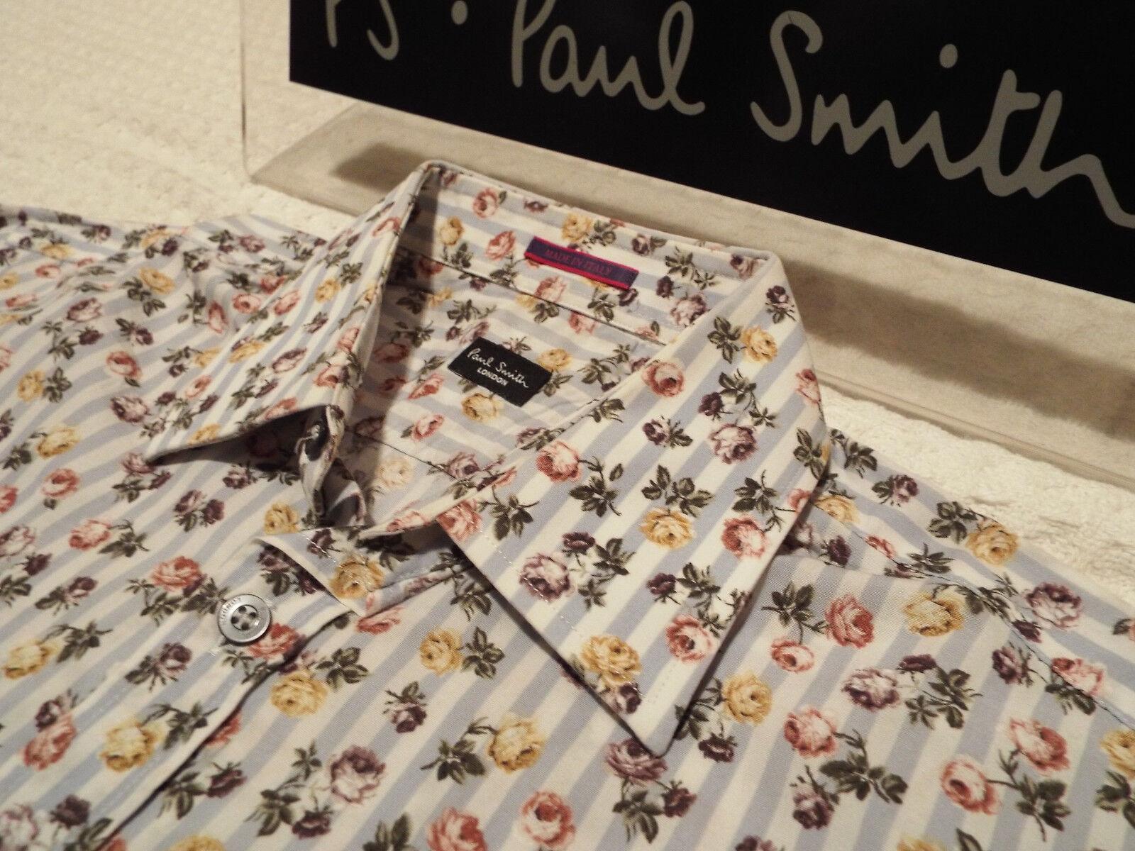 Paul Smith Da Uomo Camicia  (Taglia 15  circonferenza petto 40 )  RRP +  floreale e strisce