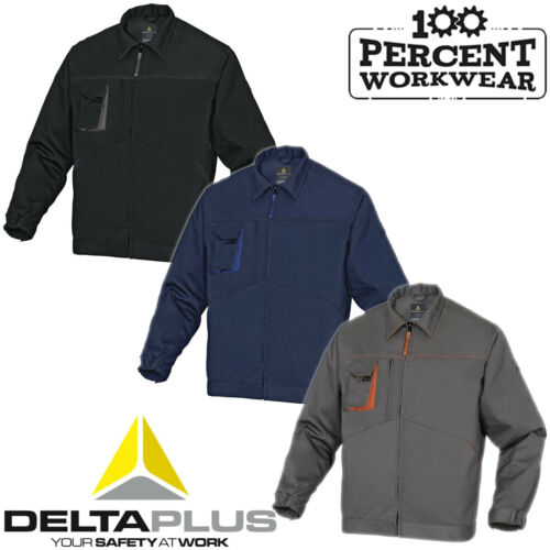Hard Wearing Tradesman Drivers Uniform Delta Plus Work Jacket Polycotton Unlined