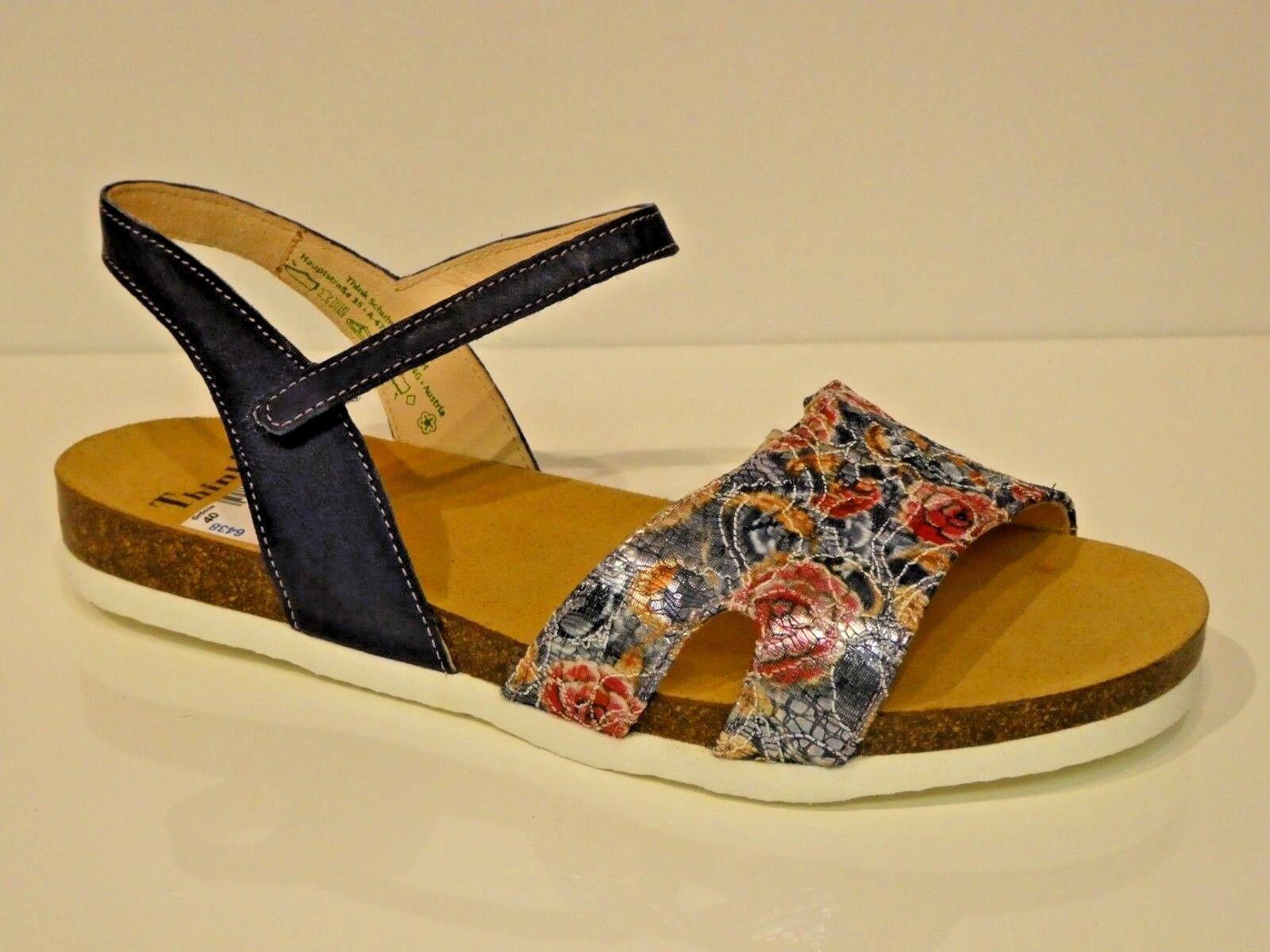 Think Schuhe Sandalen Sandaletten Shik bequem capri blau Leder Textil