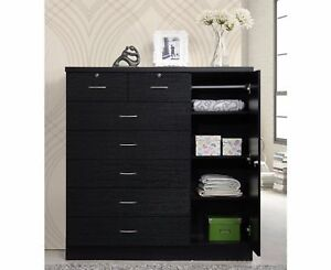 Bedroom Storage Dresser 7 Drawer Furniture Clothes Cabinet Chest Organizer Black
