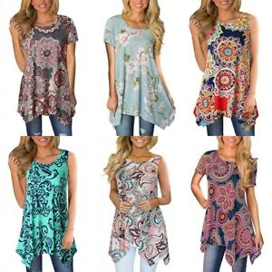 bad4f34de7f Image is loading Women-Casual-Printed-Sleeveless-Shirt-Asymmetrical-Loose- Tunic-