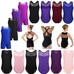 3-14-Aged-Kids-Girls-Gymnastics-Slim-Bodysuit-Ballet-Dance-Black-Leotard-Leotard