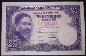 SPAIN 25 Pesetas Banknote 1954