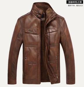 Men-faux-leather-Coat-jacket-fur-Lined-winter-stand-collar-Outdoor-Thicken-warm