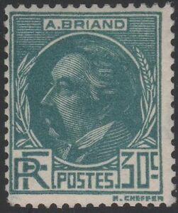 "FRANCE STAMP YVERT SCOTT 291 "" ARISTIDE BRIAND 30c BLUE GREEN 1933""MNH VVF C789"