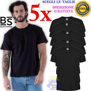 SET di 5 T-Shirt BLACK SPIDER Cotone NERE Maglia MANICHE CORTE Uomo STOCK Donna