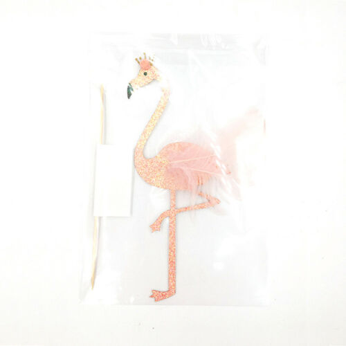 high glitter feather flamingo cake topper tropical hawaiian party decoration HV