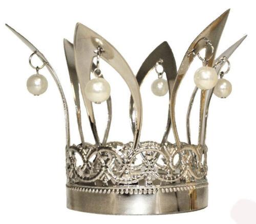 Zubehör Accessoire Karneval Fasching Krone silber mit Perlen NEU