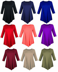 WOMENS-LOOSE-V-CUT-TUNIC-DRESS-TOP-SWING-PLUS-SIZE-12-26-LADIES-BAGGY-3-4-SLEEVE