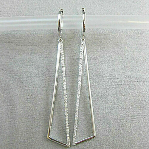 1 Ct Round Cut Diamond 14K White Gold Finish Drop Dangle Hoop Earrings Wedding