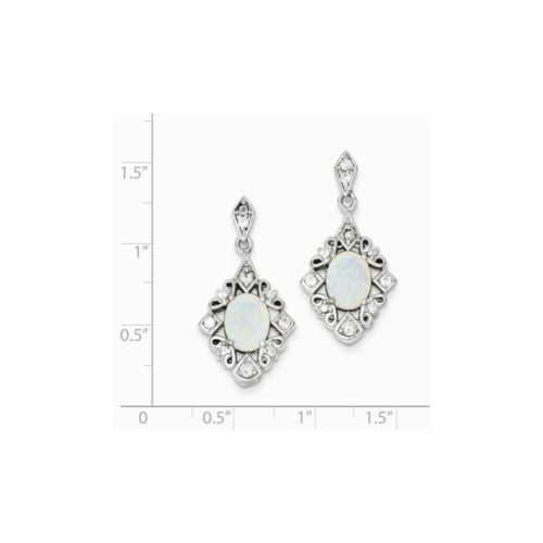 Details about  /.925 Sterling Silver 30 MM Created Opal /& CZ Post Stud Earrings MSRP $163