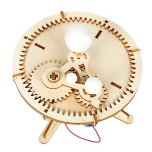 Kids-Diy-Wooden-Science-Toys-Kit-Three-Planets-Moving-Model-Physics-Learnin-D5Y2