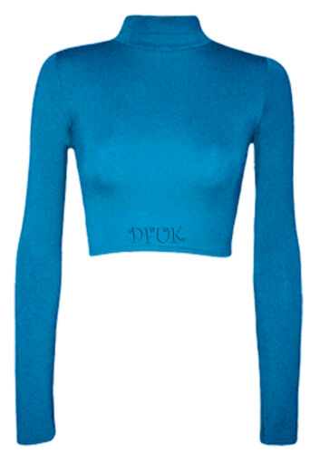 POLO Donna Collo Dolcevita Crop Top Bambine Maniche Lunghe Corto Stretch BD Top Taglia 8-14