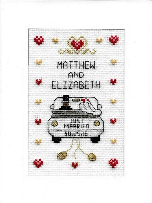 Wedding Cross Stitch CARD KIT-appena sposato