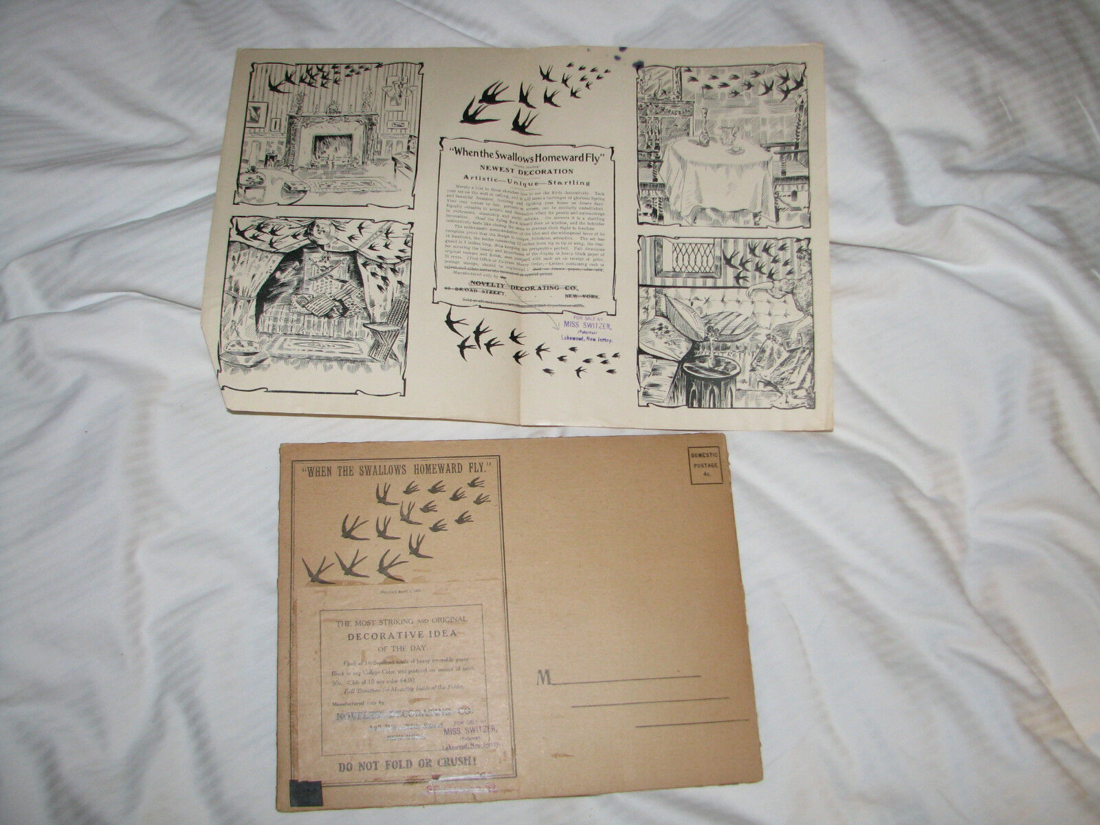 When The Swallows Homeward Fly Paper Decorating 1907 Set of 16 Vintage Wall