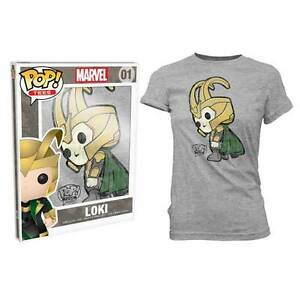 Thor-Loki-Pop-T-Shirt-Womens-Grey-S-NEW-Funko
