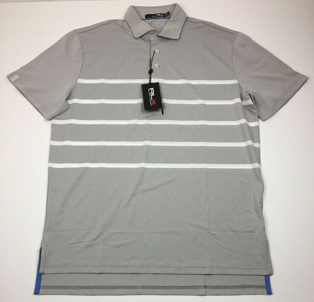 NWT RLX Ralph Lauren Mens Large Gray White Striped Short Sleeve Polo Shirt
